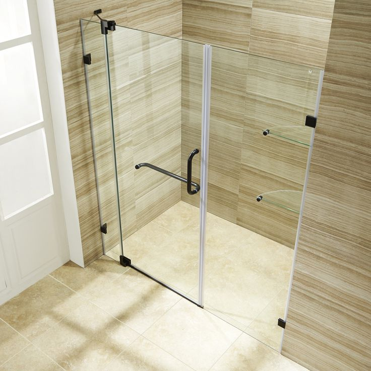 "Vigo Industries VG6042ARBCL60 Pirouette 60-inch Frameless Shower Door 3/8"" Clear Glass/Hardware Antique Rubbed Bronze - eFaucets.com"
