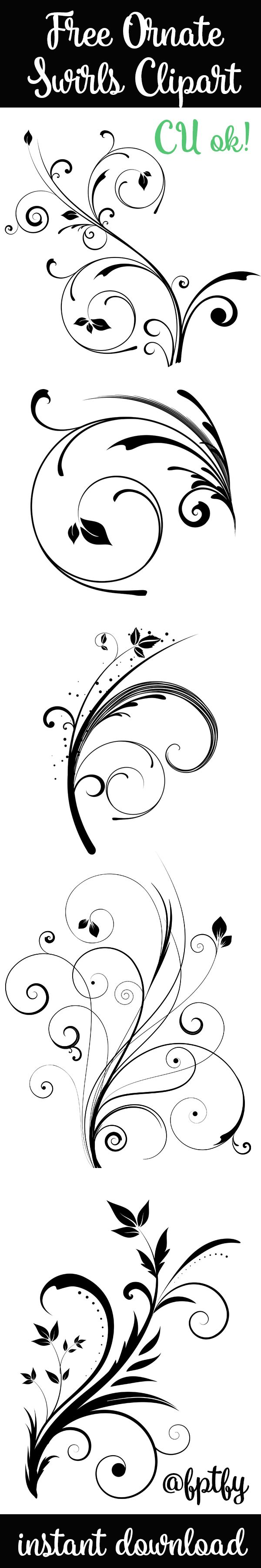 9 Free Ornate Swirl Clipart -CU ok! - Free Pretty Things For You