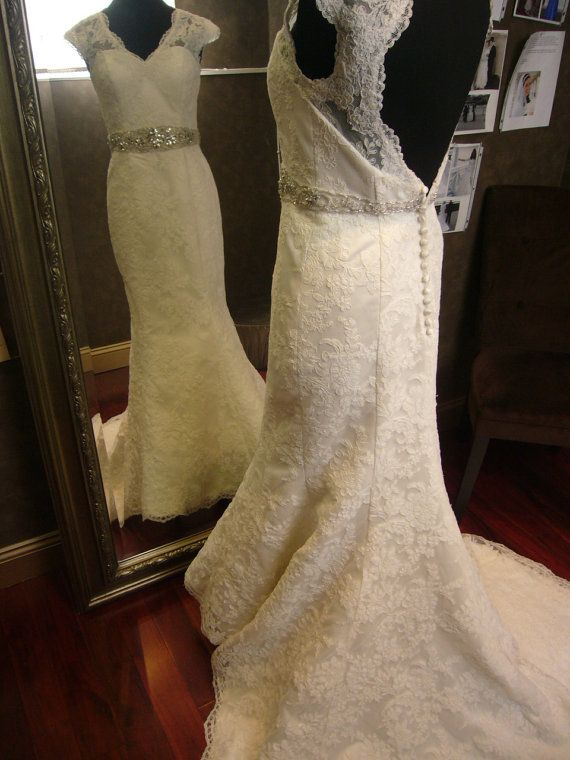 Keyhole Wedding Dress with Cap Sleeves and by WeddingDressFantasy
