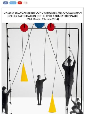 Official Announcement of Mel O'Callaghan's participation at the 19th Biennale of Sydney in 2014.