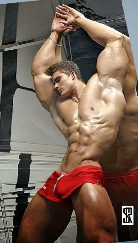 Sexy Ripped Hunk Lat Abs Legs Leaning At Mirror By Stenir -7545