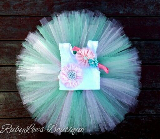 #Mint #Pink  #PhotoProp #BabyGirl #Outfit  #CakeSmash #Tutu #Headband #Matching #Set  #Birthday Rubylee's Boutique Online https://www.facebook.com/Rubyleesboutiqueonline