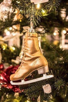 Julepynt skøyte med oppheng, i gull