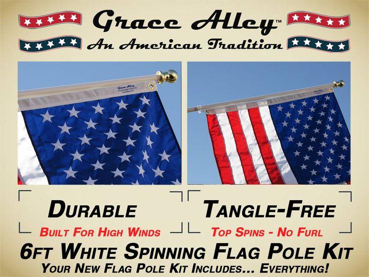 Flag Pole Kit: Includes Tangle Free Flagpole - Flag Pole Bracket and American Flag Made in USA