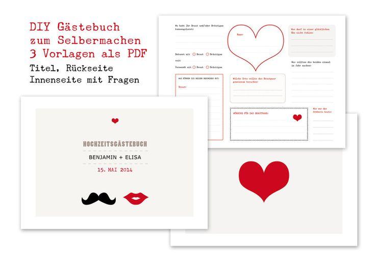 DIY Gästebuch Hochzeit mit 3  PDF Vorlagen von OOH HAPPY DAY auf DaWanda.com