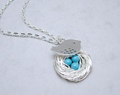 Silver Bird Nest Necklace with Turquoise Pearls