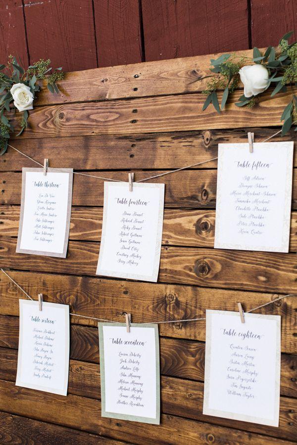 seating chart - photo by Elena Wolfe http://ruffledblog.com/charming-rustic-upstate-farm-wedding