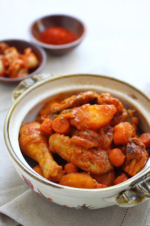 Korean Spicy Chicken Stew - potatoes, chicken, onion, baby carrots, scallions, soy sauce, chili paste. #stew #chicken
