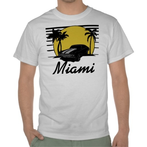 Miami city name beach sunset surf car t shirt surf for T shirts with city names