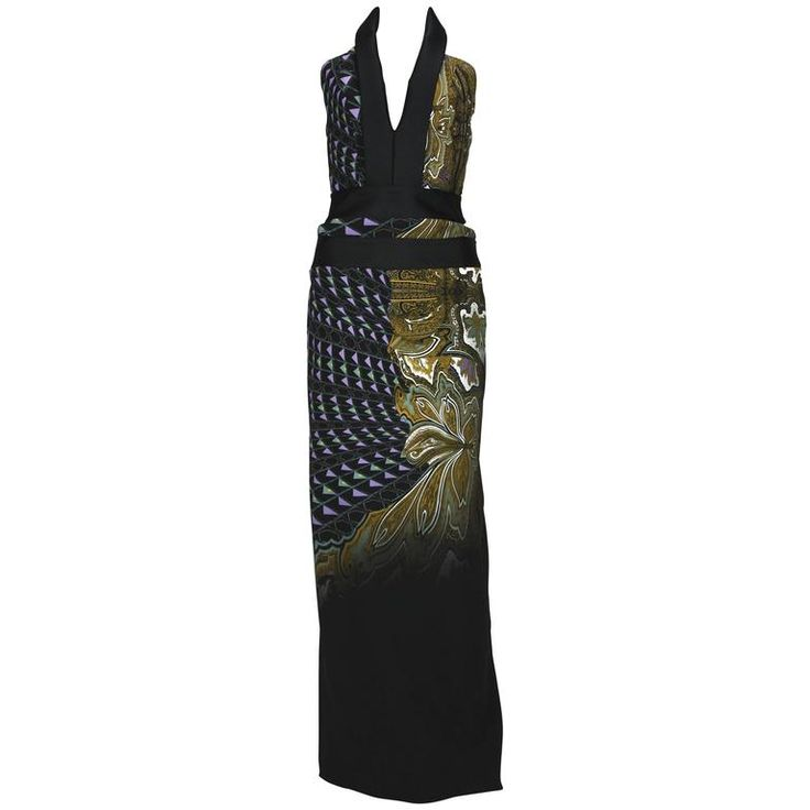 New ETRO Runway Printed Side Cutout Open Back Gown 40 - 4 | From a collection of rare vintage evening dresses and gowns at https://www.1stdibs.com/fashion/clothing/evening-dresses/