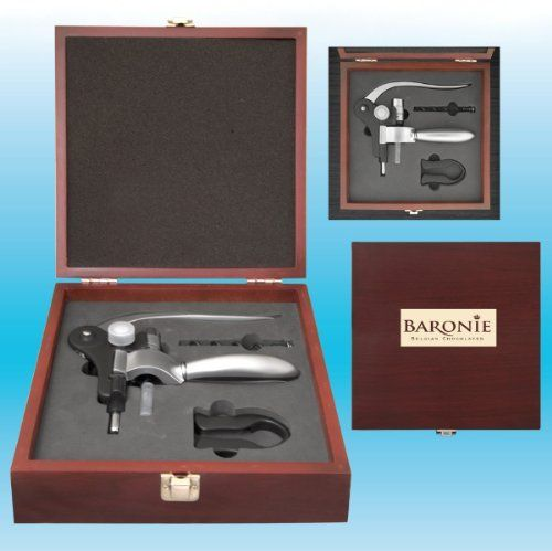 "The Parisian Wine Set (50 Pack) by DDI. $3378.70. A rabbit style wine bottle opener set in a beautiful rosewood gift box. Includes a foil cutter and an extra corkscrew. Artwork is only imprinted on the metal plaque. Price includes laser engraving. Imprint Size: 2""w x 1""h (on plate only). Item Size: 8 1/2""w x 8 1/2""h."