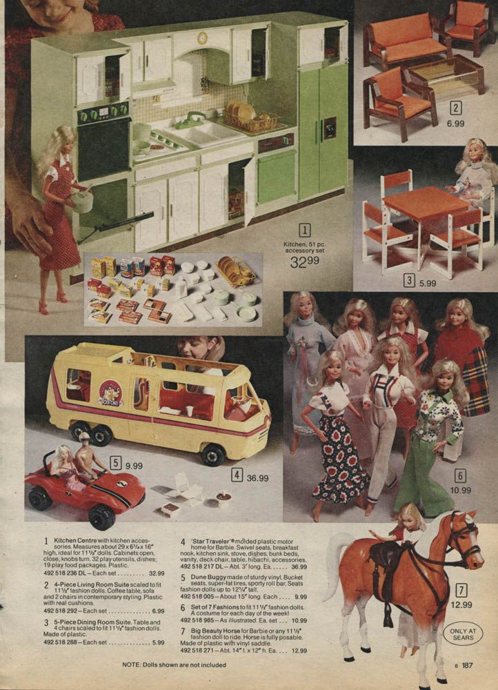 Wolverine Fashion Doll Kitchen, Barbie Star Traveler Motorhome and Horse Beauty from the Sears Christmas Wish Book Catalog, 1970's