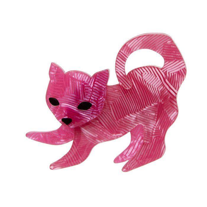 Senpai the Sensitive (Erstwilder Pink Resin Cat Brooch)