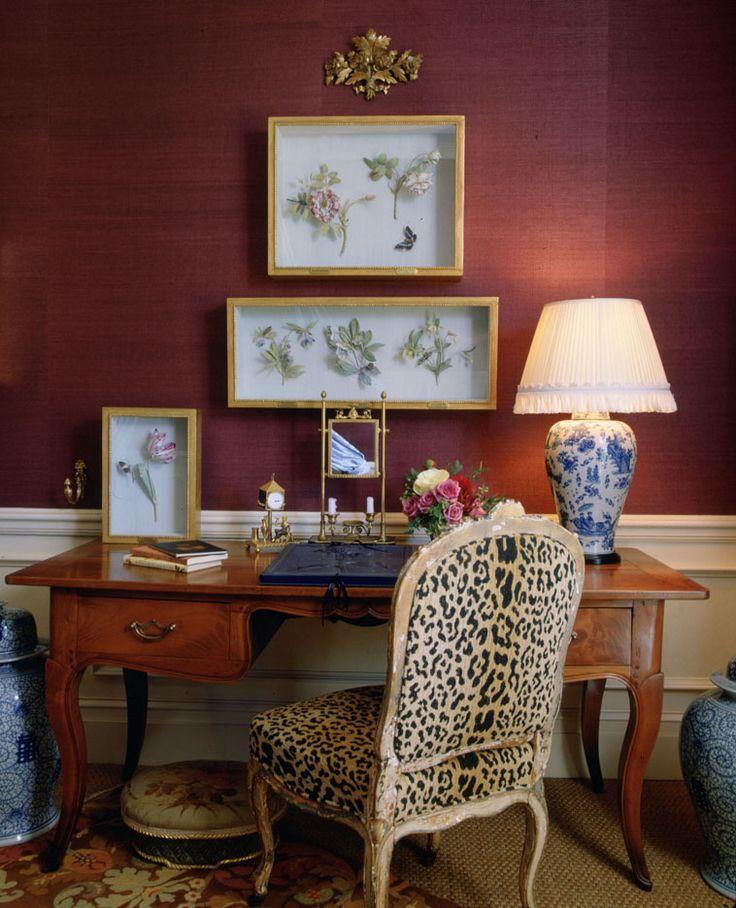 Charlotte Moss, leopard chair, grasscloth walls