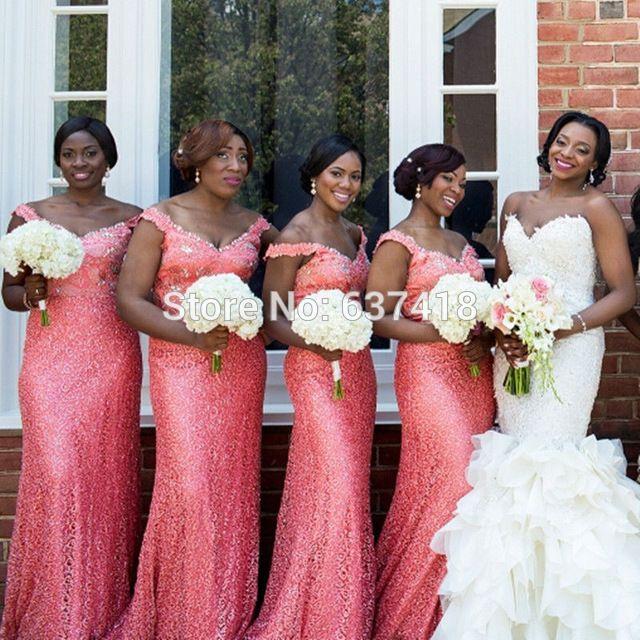 Paillettes longues sirène corail Sparkly robes de mariée avec cristaux et…
