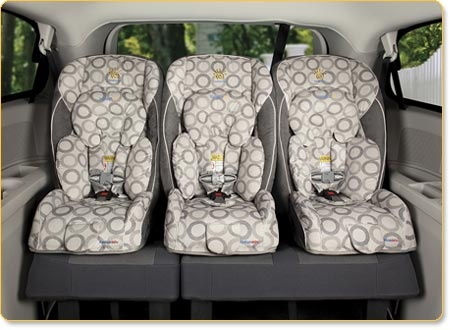 Sunshine Radian makes a car seat that can fit 3 across -- this is how you avoid the minivan (if you're so inclined)!