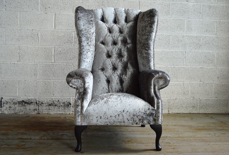 Modern British handmade Audley deep buttoned Chesterfield wing back Chair, shown in silver Glitz crushed Velvet. High back | Abode Sofas