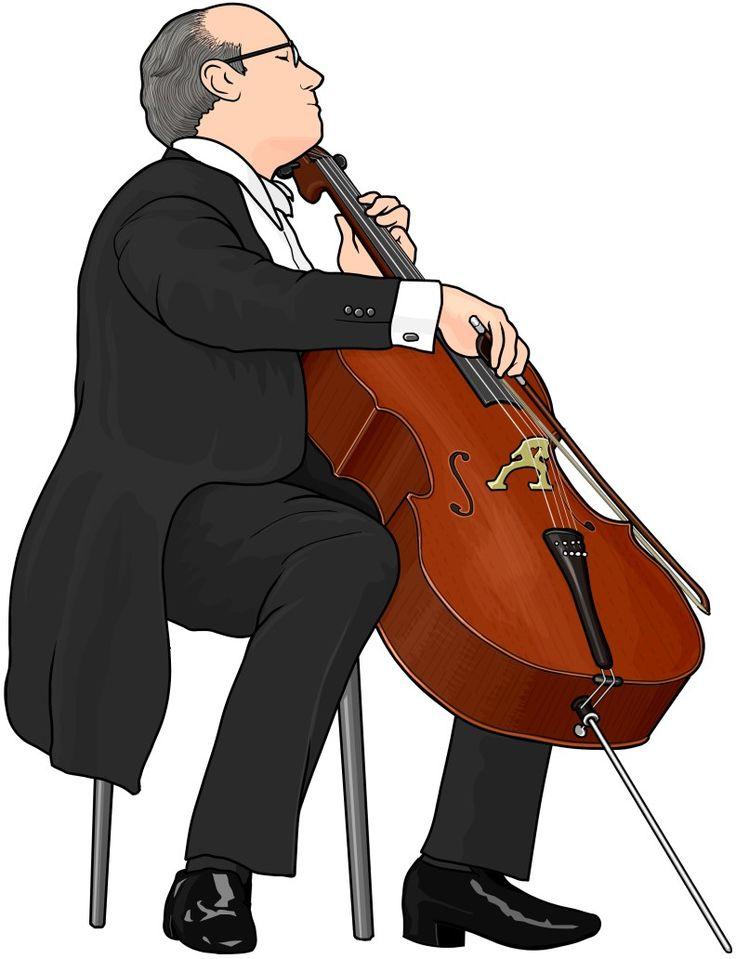 チェロ演奏の図 。cello