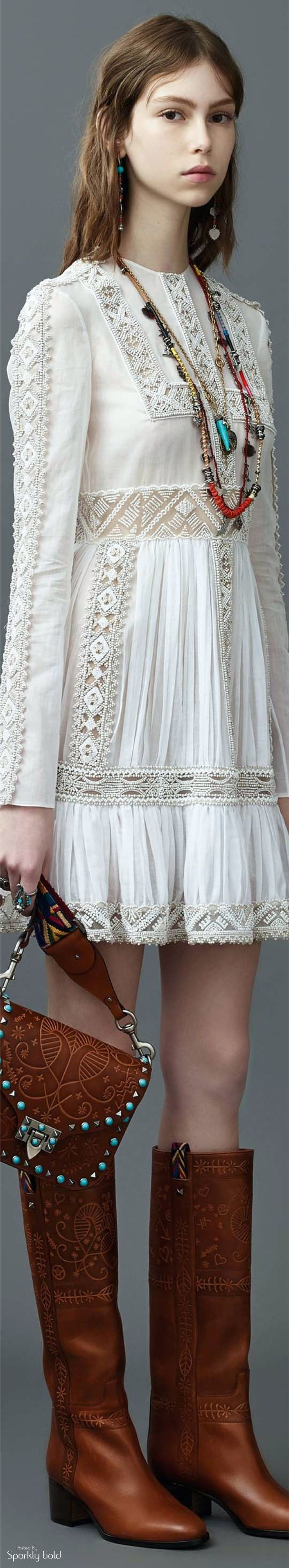 Valentino R-17: boho white dress, necklace, boots.