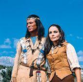 "Winnetou aka Pierre Brice with Karin Dor aka Mabel Kingsley in ""Winnetou und Shatterhand im Tal der Toten (In the Valley of the Death)"", 1968"