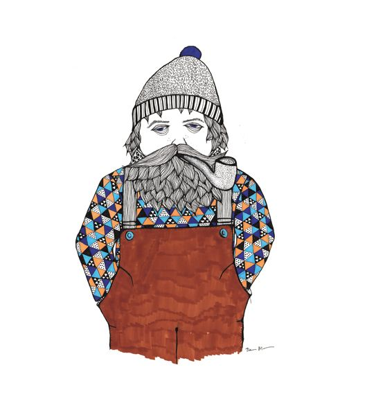 Smoking sailor with a beard .illustration made by tina mose. Ink fineliner and makers