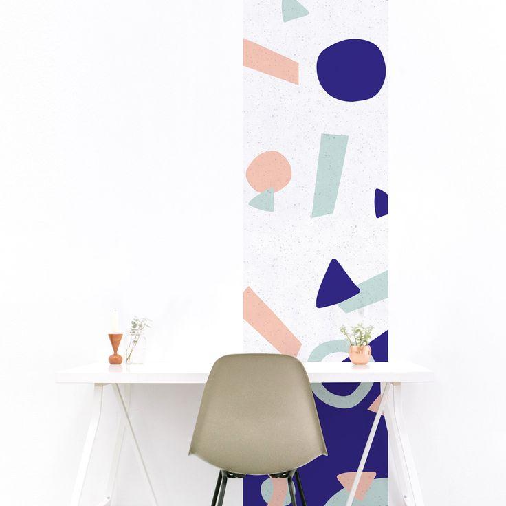 Sweet  ce papier peint géométrique plaira aussi bien aux grands qu'aux petits. Ses formes ludiques et ses couleurs vivifiantes feront de votre intérieur un lieu unique! #graphique #bleurose #magneticwall