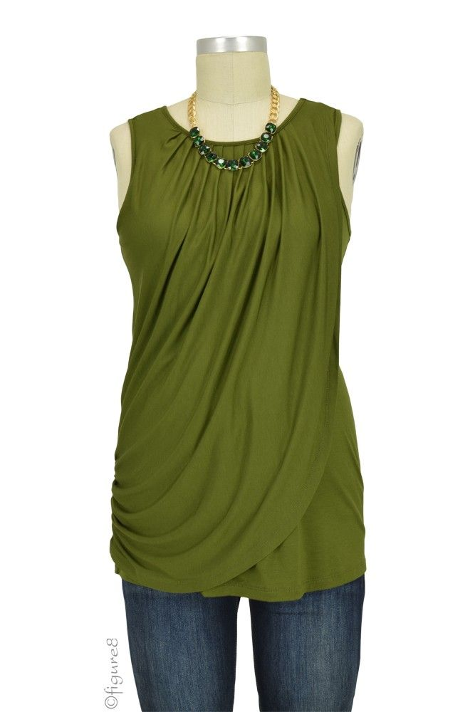 Athena Drape Sleeveless Nursing Top in Olive.  Please use coupon code NewProducts to receive 15% off these items. To receive the discount, please place your order by midnight Monday, April 11, 2016