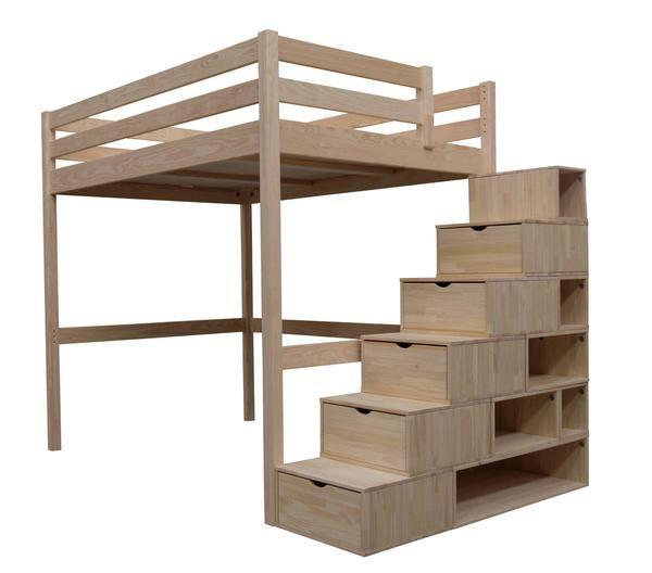 Mezzanine Sylvia avec Escalier Cube:    Lit Mezzanine pin maritime massif provenant de forêt à gestion contrôlée. L'escalier de rangement est un ensemble de cubes individuels en bois massif avec 5  tiroirs sur glissières métalliques et un fond en isorel.  Hauteur sous plancher: 161 cm  H/L/P cm hors tout: 198x209x103 Encombrement de l'escalier au sol L/l : 150 x 50 cm. Poids supporté : 150 kg Conforme aux exigences de sécurité des normes en vigueur.  Garantie 2 ans. Fabrication française.