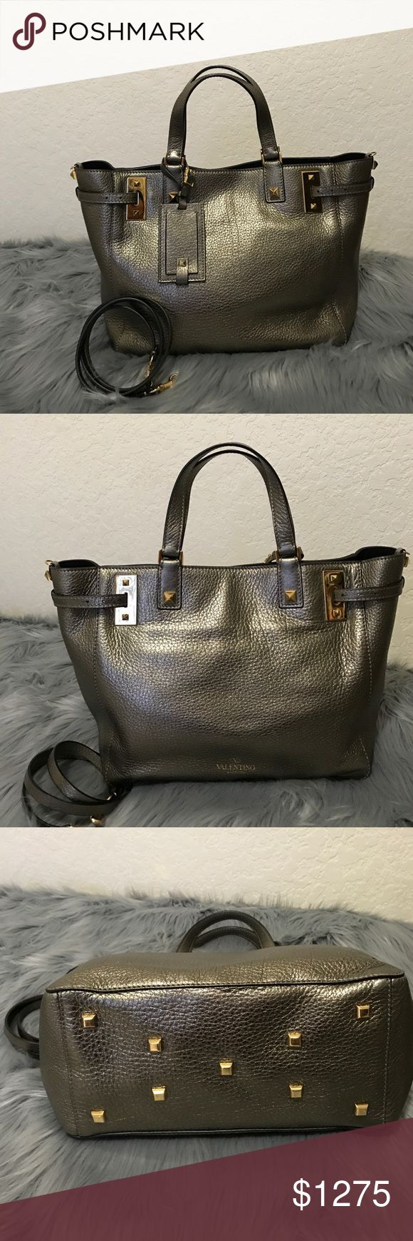 Valentino My Rockstud Soft leather tote Bag 💯 Authentic, gently used bag! Exterior is in great condition! Some light scratches on the gold hardware and is mostly on the bottom studs. Interior is clean, only few dusts. Still has the  protective sticker on the inside gold plates. Color:Bronze, length-17, height-10, width-6.5. Can be used hand held or worn over the shoulder or cross body. This sale is only for the bag and crossbody strap. Please let me know if you have any questions! Valentino…