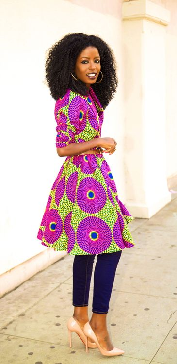Demestiks NewYork African Print Wrap Jacket   Capri Jeans   Style Pantry