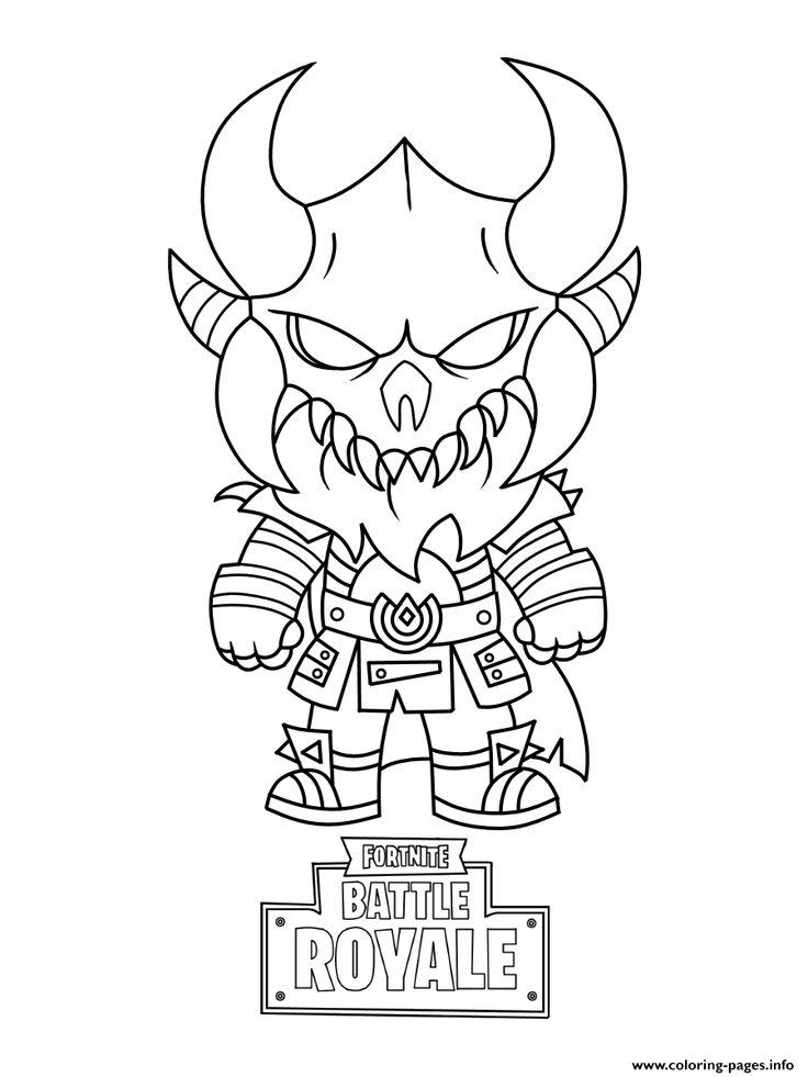 Print fortnite mini cute the dark viking coloring pages