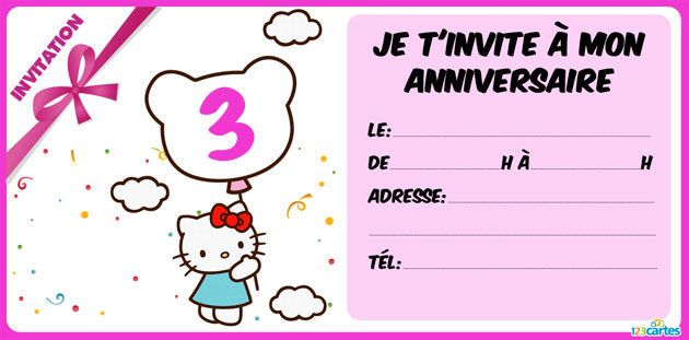 Invitation anniversaire Hello kitty de 3 à 10 ans
