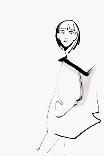Fashion illustration - black & white fashion drawing // Kathy Murysina