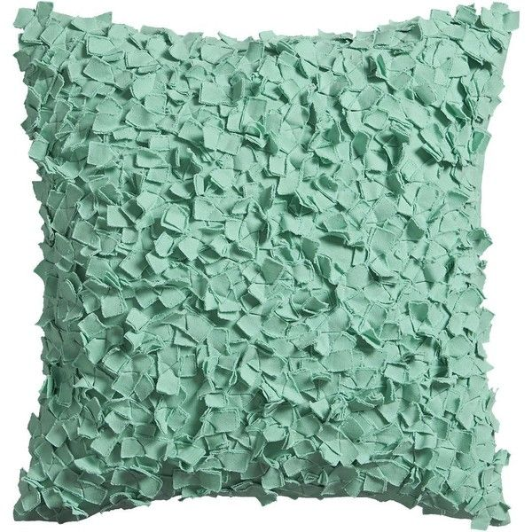"""CB2 Rimple Aqua 20"""" Pillow With Feather Insert featuring polyvore, home, home decor, throw pillows, blue green throw pillows, plush throw pillows, aqua blue throw pillows, aqua home decor and feather pillow inserts"""