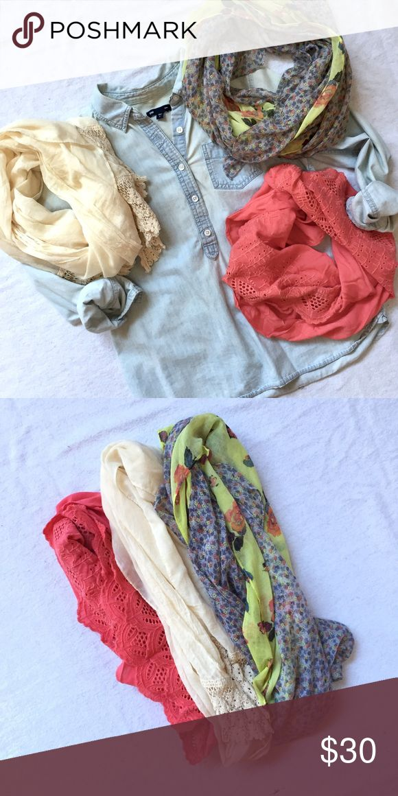 Scarf Bundle! Charming Charlie + Urban Outfitters Set of 3 beautiful, light, scarves just in time for spring! • Charming Charlie Cream and Lace • Charming Charlie Coral Lace Infinity • Urban Outfitters Neon Floral • All items also listed separately. 30% OFF IF YOU PURCHASE ALL 3! Urban Outfitters Accessories Scarves & Wraps