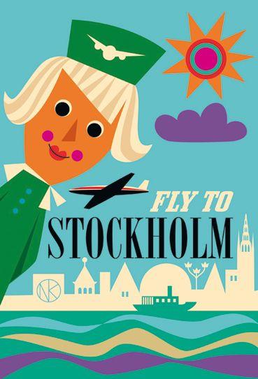 Stockholm, Sweden vintage travel poster ~ Ingela P Arrhenius