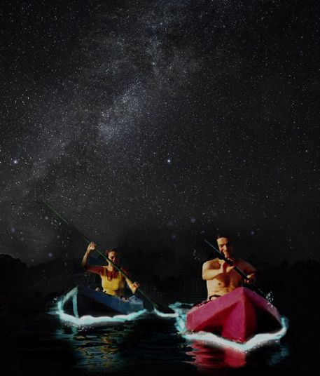 Nighttime kayak excursions in bioluminescent lagoons in Puerto Rico---millions of microscopic plankton light up in with the movement of the water, which gives the appearance of floating on glowing glitter.