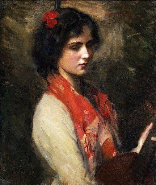 Young Woman with Mandolin, 1901 by Harrington Mann