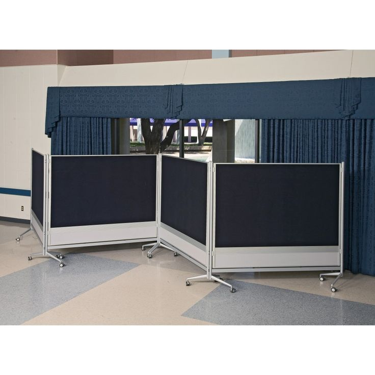 High Quality Interior Black And White Room Divider With Four Panels And Wheels On The  Floor Connected By