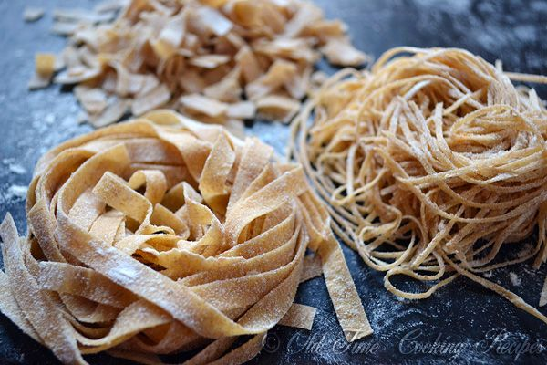 Homemade Whole Wheat Pasta Serves:about 3/4 lbs of pasta  Ingredients 2 eggs 1 1/4 cup whole-wheat flour 1/2 cup all-purpose flour about 1 Tbsp. water Instructions Put all the ingredients in the mixer bowl. Mix until it all comes together in a ball. The dough should be as dry as possible. Cut the [...]