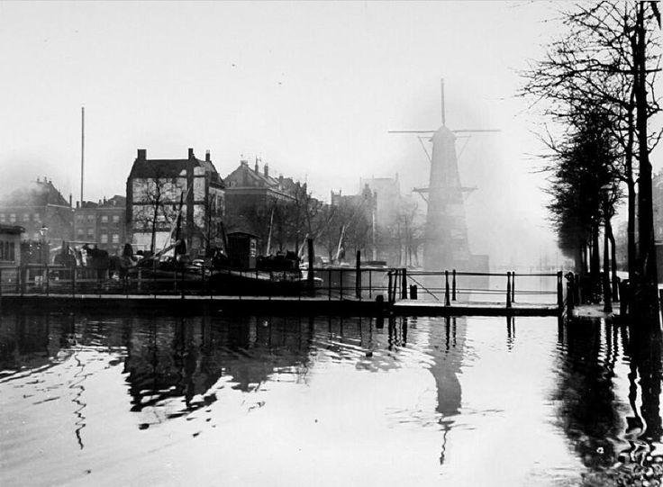 Coolsingel bij mist. Op de voorgrond het Comediebruggetje en op de achtergrond korenmolen De Hoop. Aan de linkerkant wordt de Zandstraatbuurt afgebroken voor het nog te bouwen stadhuis. De foto 1909 door Berssenbrugge. Het comediebruggetje heeft haar naam gekregen vanwege de Schouwburg Tivoli. Vanaf de Zandstraatbuurt kon je over dit bruggetje naar Tivoli. De beroemde Rotterdamse cabaretier en kleinkunstenaar Louis Davids, geboren in de Zandstraatbuurt, vierde in Tivoli zijn eerste…