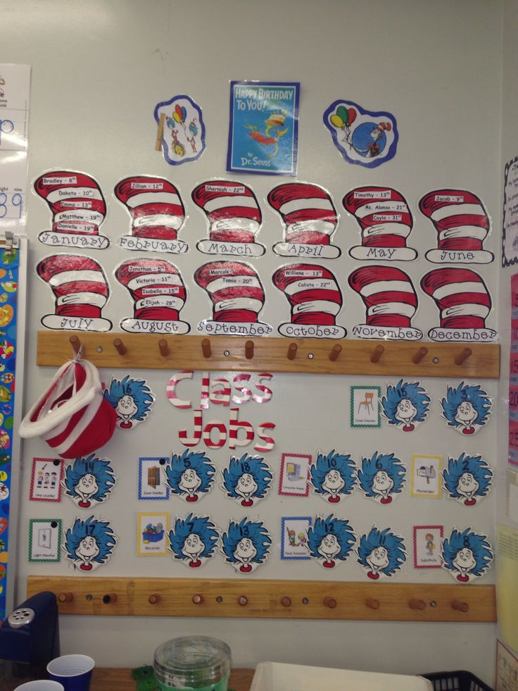 Classroom Ideas Charts : Dr seuss birthday hats and job chart pre k ideas