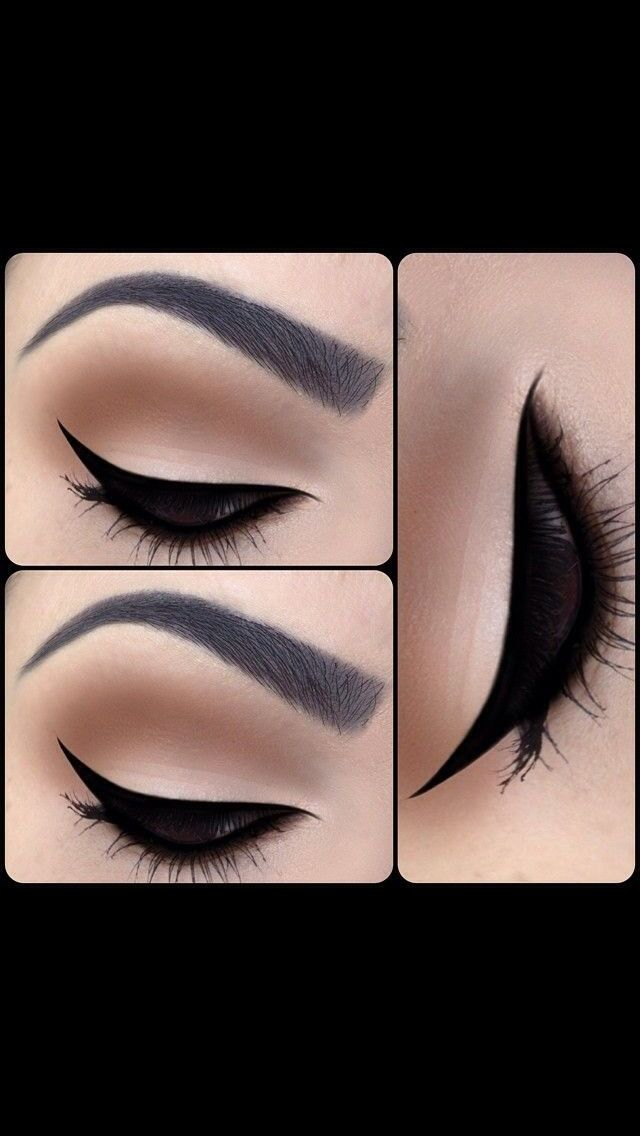 M.A.C eyeshadow in 'Vanilla' on the lid with 'Corduroy' in the crease. Winged liner to perfection using Blacktrack Fluidline