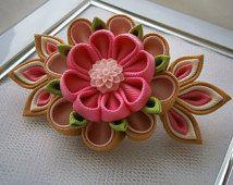 Ruban de gros,grain tissu Fleur Kanzashi Tsunami en la main français barrette , accessoires