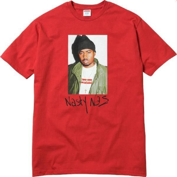 SUPREME Nas Tee Red (2 885 SEK) ❤ liked on Polyvore featuring tops, t-shirts, red t shirt, red top, red tee, cotton tees and cotton t shirts