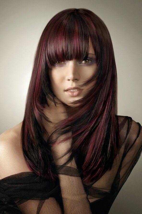 Plum Highlights With Dark Black Hair Color Ideas Short Length Hairstyle For Long Medium