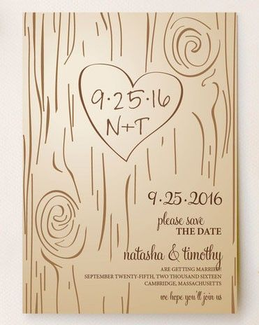 If you've always dreamed of permanently professing your love in a trunk of a tree, now is your chance. The darling doodled save-the-date designed by Amanda Joy via Minted showcases your date and initials just as if you carved it yourself.