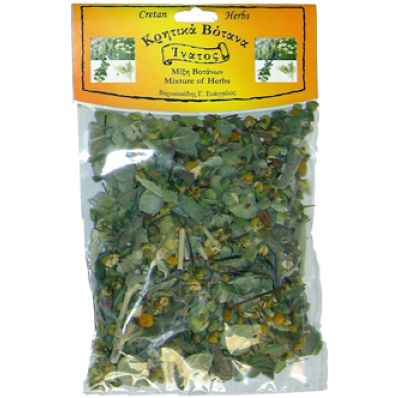 Mixture of Cretan herbs  A very strong combination of Cretan herbs: Dittany of Crete Sage The famous mountain tea of Crete- Siderites syriaca (Maletira)  Camomile