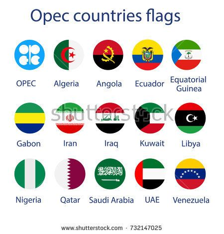 Vector illustration icon set, collection of OPEC members countries flags with names. 14 members flags + OPEC flag