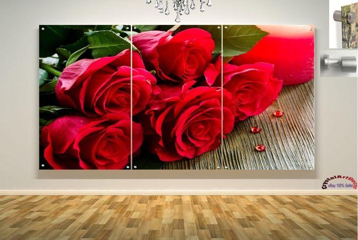 Wall Art Decor Floating Acrylic Glass Plexiglass Modern Art Flower Roses Hearts #Handmade #Modern